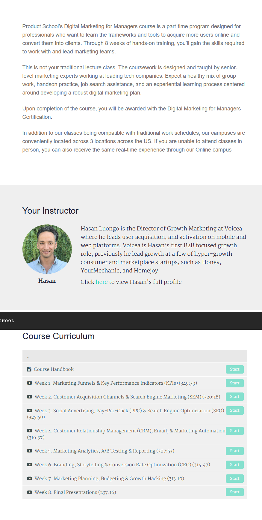 Hasan Luongo - Product Marketing Course