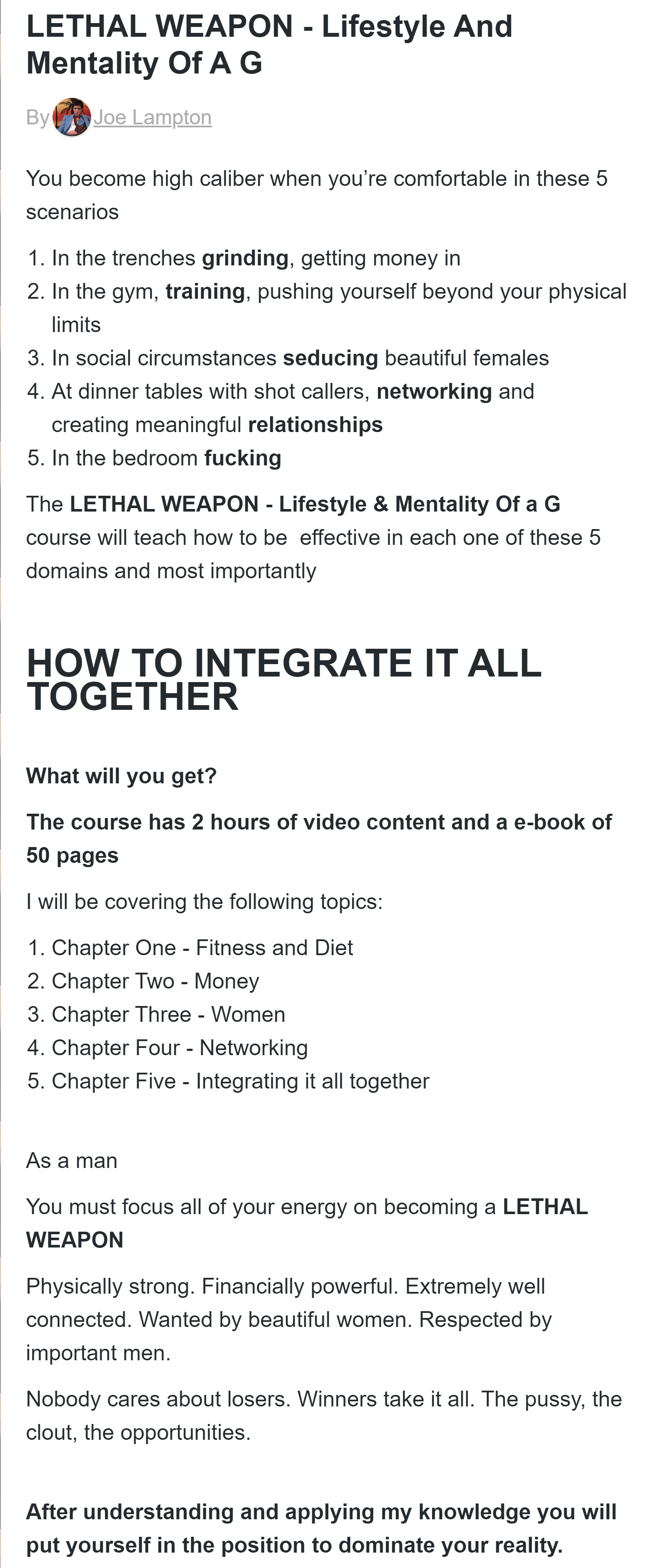 Joe Lampton - LETHAL WEAPON – Lifestyle And Mentality Of A G